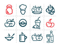 Line food icons Royalty Free Stock Photos