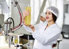 Line of food production of refined sunflower oil. Girl worker at a factory on a conveyor background with bottles of vegetable oil Royalty Free Stock Photo