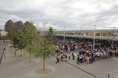 Line foor expo. People in lines to entry in expo 2015 at milan in italy stock images