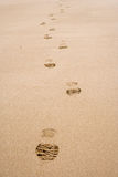 Line of footprints on sand. Y beach or desert Royalty Free Stock Images