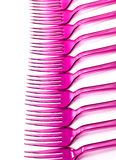 Line of pink forks Stock Image