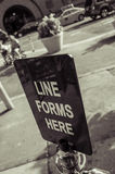 Line forms here Royalty Free Stock Image