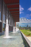 Line of Fountains on the Yard Building of Christ Cathedral Churc Royalty Free Stock Images