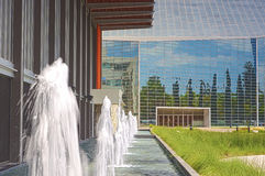 Line of Fountains on the Yard Building of Christ Cathedral Church. In California , USA. Horizontal Image Orientation royalty free stock photo