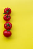 Line of four tomatoes on yellow background, copy space Royalty Free Stock Images
