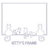 Line frame with cats Royalty Free Stock Photography
