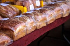 Line of freshly baked homemade bread Stock Photos