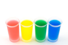Line of frosted glass and color water Stock Photo