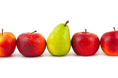 Line of fruits - pear and apples Stock Image