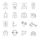 Line funeral and burial icons Stock Photo