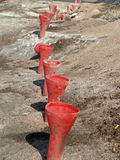 Line of funnels. Ready to put explosives Royalty Free Stock Images