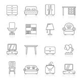 Line furniture and home equipment icons. Vector icon set Royalty Free Stock Image