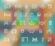 Line furniture icons set on the abstract background with defocused lights. Outline web icon collection royalty free illustration