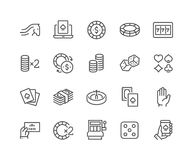 Line Gambling Icons Stock Images