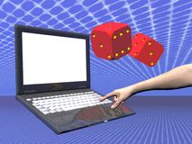 On line gambling laptop. A free interpretation of an internet connection with on line gambling, data streams.  Laptop with hand pressing keys and two red dices Royalty Free Stock Image
