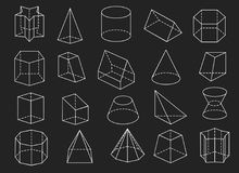 Line geometric shapes 3d icons set. Line geometric shapes. 3d vector geometrical shape set like pyramid and cone, cylinder and pentagram Royalty Free Stock Image
