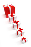 Line of gift boxes Royalty Free Stock Images