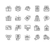 Line Gifts Icons Stock Photography