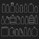 Line glass plastic bottles and other containers Stock Photo