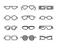 Line  glasses icons Royalty Free Stock Photo