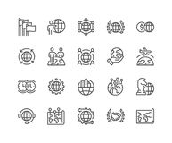 Line Global Business Icons Stock Image