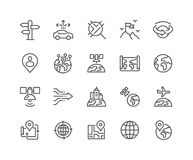 Line Global Navigation Icons. Simple Set of Global Navigation Related Vector Line Icons. Contains such Icons as World Map, Branch Office, Business trip and more Royalty Free Stock Photos