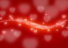 Line of glowing hearts Royalty Free Stock Photography