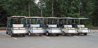 Line Of  Golf Carts Royalty Free Stock Images