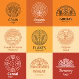 Line grain, groats, cereal logo and signs set. Line grain, groats, cereal logo and signs set. Local farmers product, organic product symbols in linear style Royalty Free Stock Photos