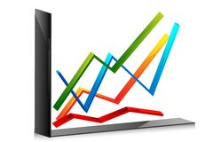 Line Graph. Illustration of line graph on an isolated background Stock Image