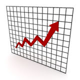 Line Graph. Red arrow graph on table stock illustration