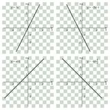 Line graph on the checker. Linear function. Line graph on the checker. Educational concept. Mathematics Stock Photo