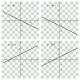 Line graph on the checker. Linear function. Line graph on the checker. Educational concept. Mathematics Royalty Free Stock Images