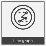 Line graph icon isolated on white background. With gray frame, sign and symbol Stock Photography