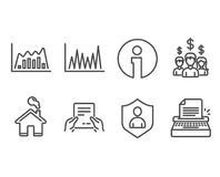 Line graph, Infographic graph and Receive file icons. Salary employees, Security and Typewriter signs. Set of Line graph, Infographic graph and Receive file Royalty Free Stock Images