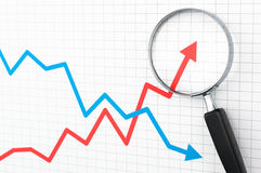 Line graph and magnifying glass. Stock Image