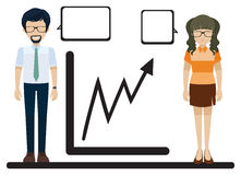 A line graph with a man and a woman. On a white background Stock Photography