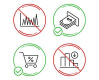 Line graph, Special offer and Atm money icons set. Decreasing graph sign. Vector. Do or Stop. Line graph, Special offer and Atm money icons simple set royalty free illustration