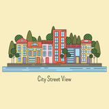 Line graphic city street neighborhood illustration Stock Photos