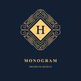 Line graphics monogram. Elegant art logo design. Emblem. Graceful template. Letter H. Business sign, identity for Restaurant, Royalty, Boutique, Cafe, Hotel stock illustration
