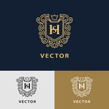 Line graphics monogram. Elegant art logo design. Letter SH. Graceful template. Business sign, identity for Restaurant, Royalty Royalty Free Stock Photos