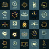 Line graphics monogram. Vintage Logos Design Templates Set. Business sign Letter emblem. Vector logotypes elements collection, Ico Stock Photography