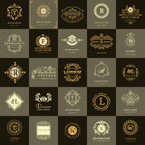 Line graphics monogram. Vintage Logos Design Templates Set. Business sign Letter emblem. Vector logotypes elements collection, Ico Stock Photos