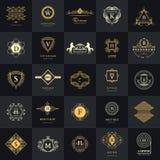 Line graphics monogram. Vintage Logos Design Templates Set. Royalty Free Stock Images