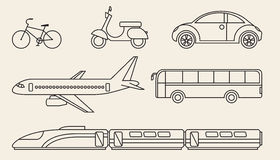 Line graphics set of different personal and public transport Royalty Free Stock Images