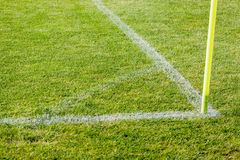 The line on the grass on the football pitch Royalty Free Stock Images