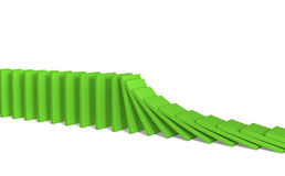 A line of green 3d falling figures of a dominoes. Objects over white Royalty Free Stock Photos