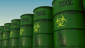 Line of green barrels with biohazard content. 4K seamless loopable animation, ProRes. 444 stock illustration