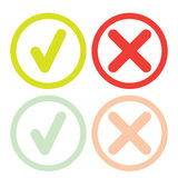 Line green check mark or check box icons set Stock Photography