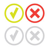 Line green check mark or check box icons set Royalty Free Stock Images
